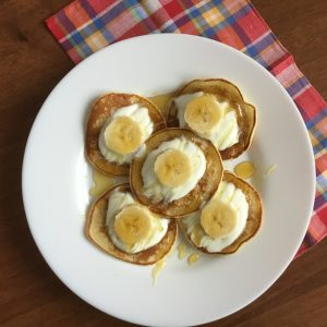 Low FODMAP gluten feee banana pancakes on a plate