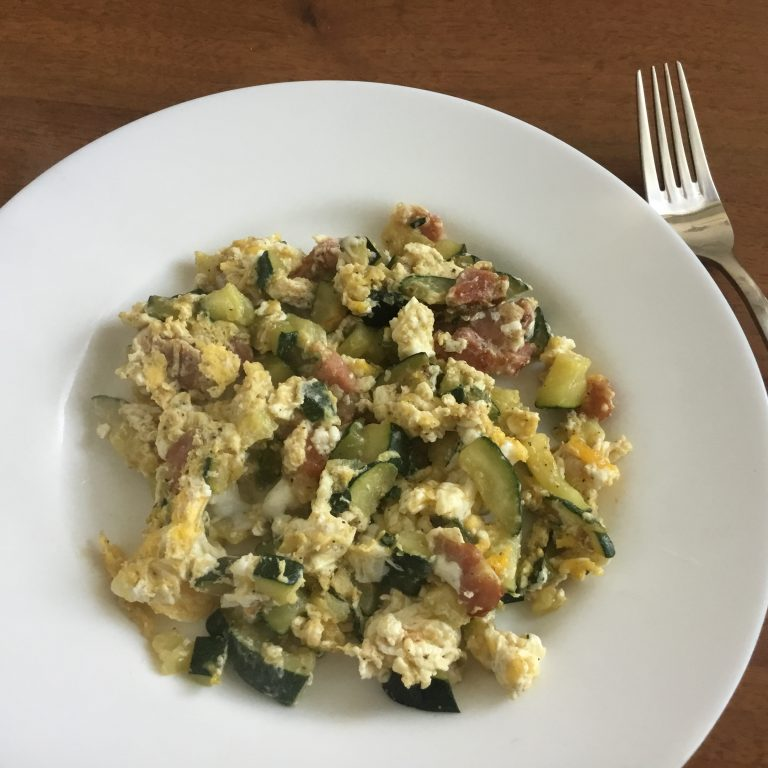 Low FODMAP courgette and bacon scrambled egg