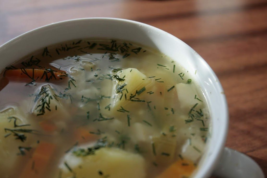 Dill gives nice freshness to the soup. You can also add parsley.