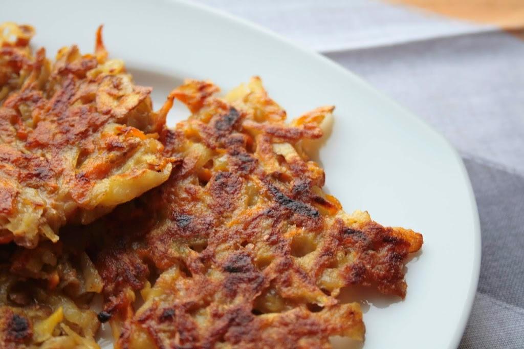 Low FODMAP potato and carrot pancakes.