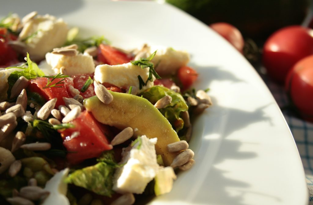 Avocado, tomato and feta salad