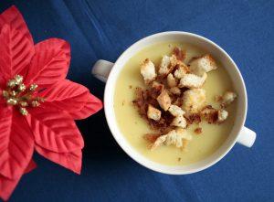 leek and potato soup with croutons