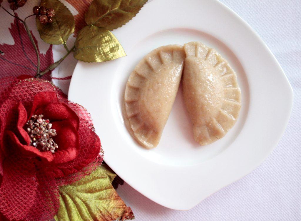 Polish dumplings 'pierogi' with sweet cheese filling