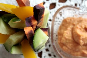 Colourful Vegetables and hummus
