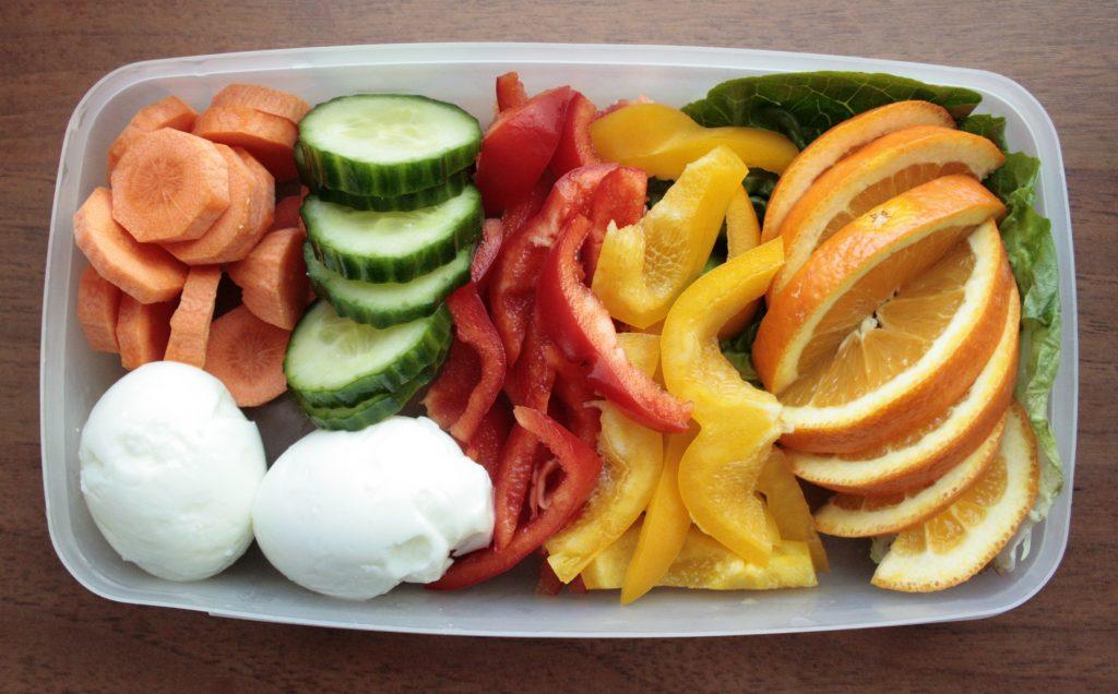 Healthy egg,veg and fruit snack