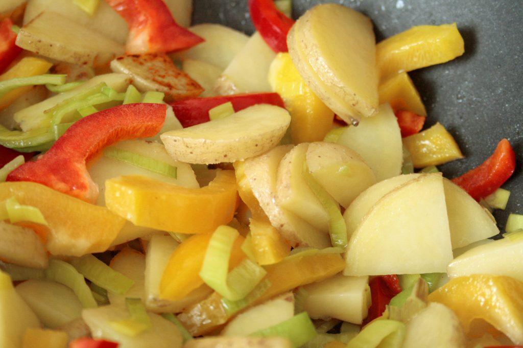 Spanish Omelette Veggies frying