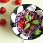 Low FODMAP Tomato, sprouts and mozarella salad