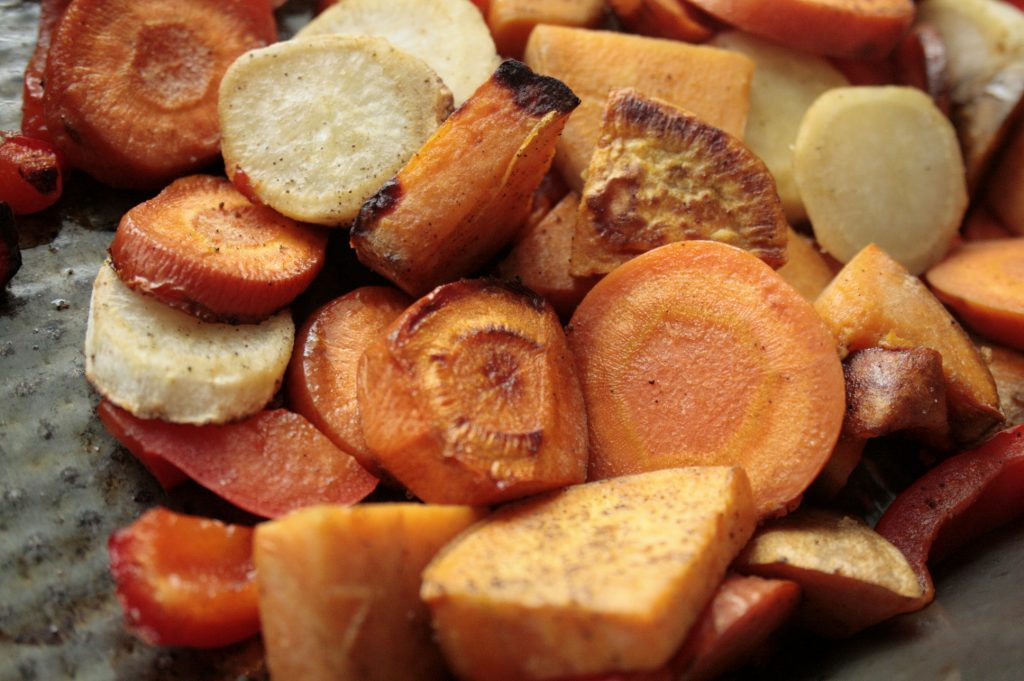 Roast vegetables for a creamy soup