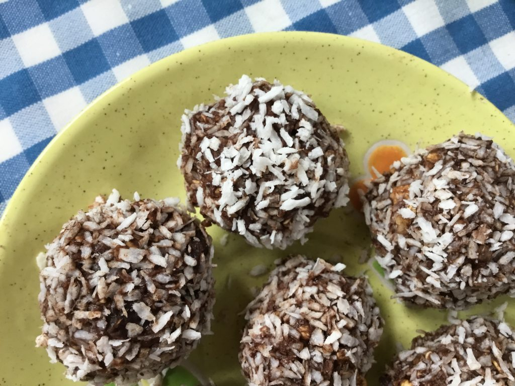 Close up on a Low FODMAP No Bake Oat Chocolate Balls