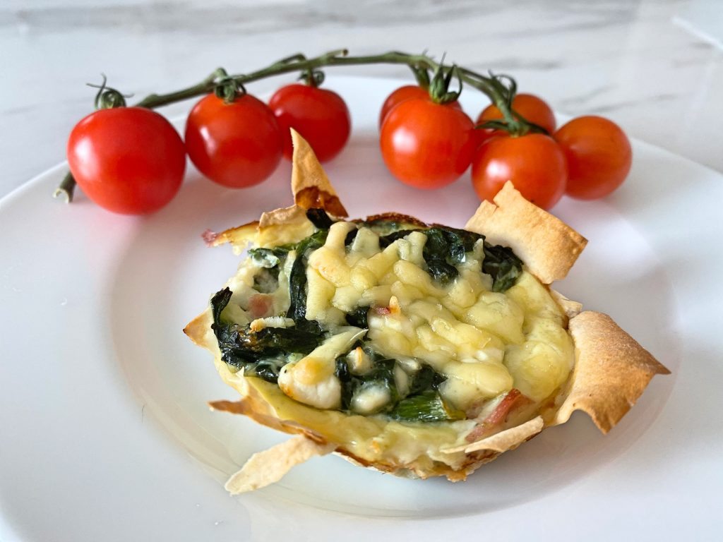 Spinach, two cheeses and ham filo parcels (Low FODMAP)