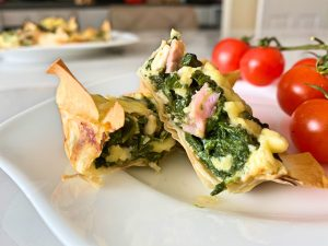 Low FODMAP Spinach and Cheddar Filo Pies