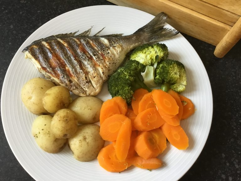 Grilled Sea Bass with Steamed Vegetables