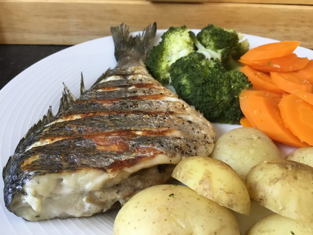 Freshly Grilled Sea Bass and Steamed low FODMAP Veg