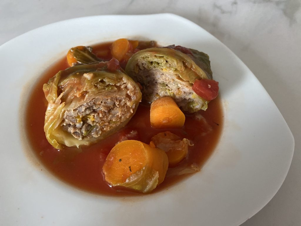Cabbage stuffed with mince and veg