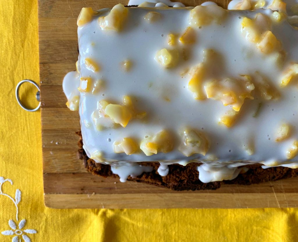 Beer Spiced Cake with Icing and Candied Peel