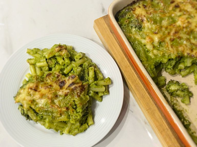 Low FODMAP Green's Mac and Cheese adapted from Jamie Oliver book
