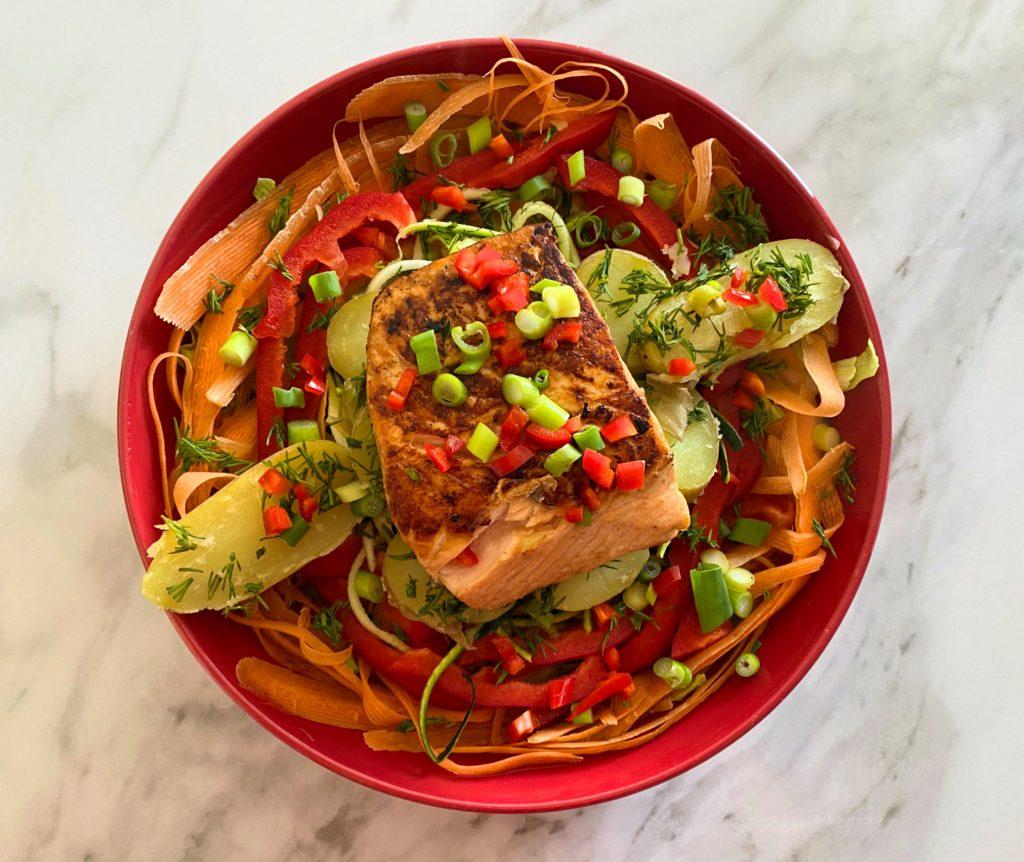 Teriyaki Salmon with a Rainbow Salad