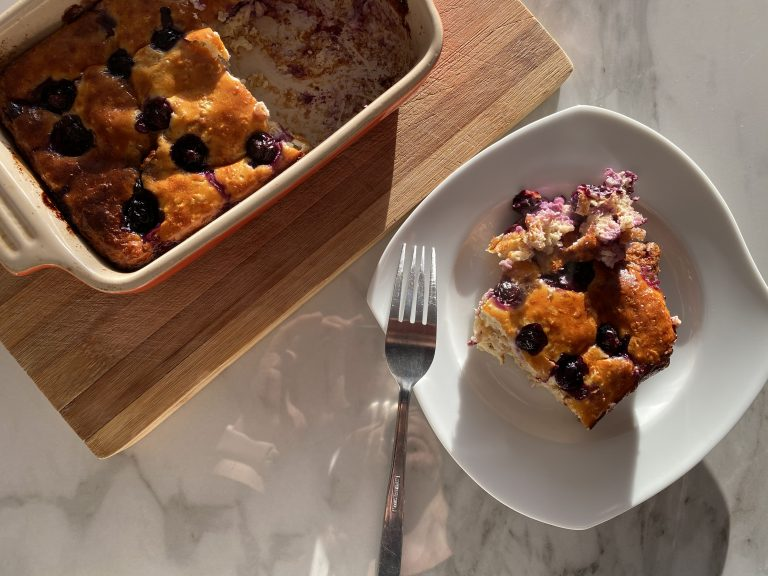 Low FODMAP Baked Oats with Blueberries