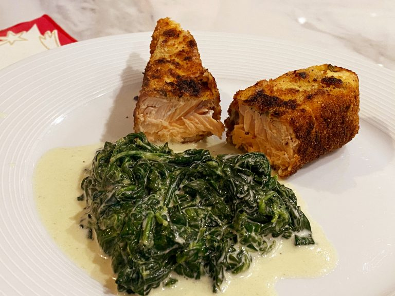 Low FODMAP Salmon with. Herb Crust with spinach