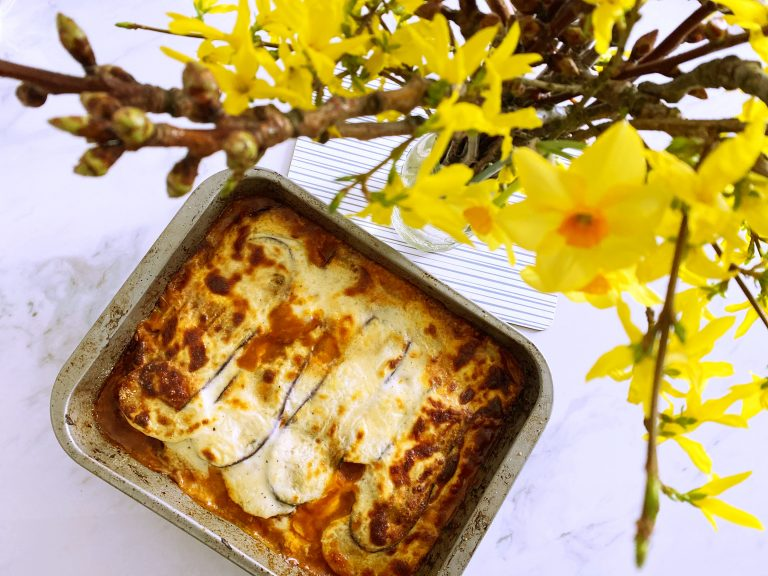 Baked Lamb Moussaka with lots of vegetables