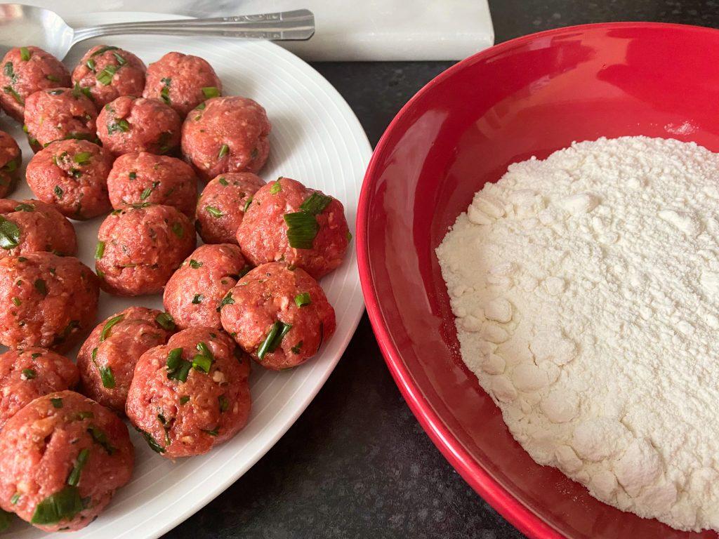 Spanish Albondigas ready for rolling in flour